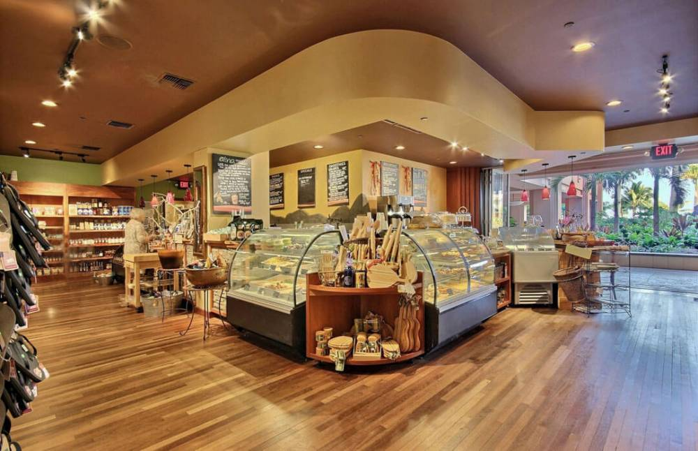 The Aina Gourmet Market is in the Hokulani Lobby has fresh sandwiches, coffee, and sundries