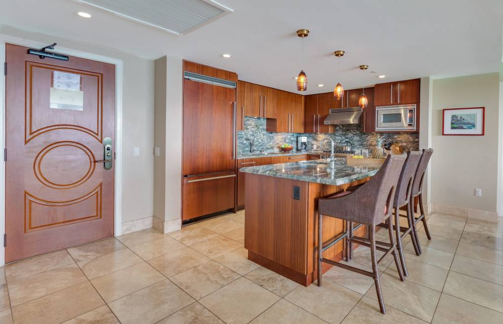 Offering a gourmet chef's kitchen