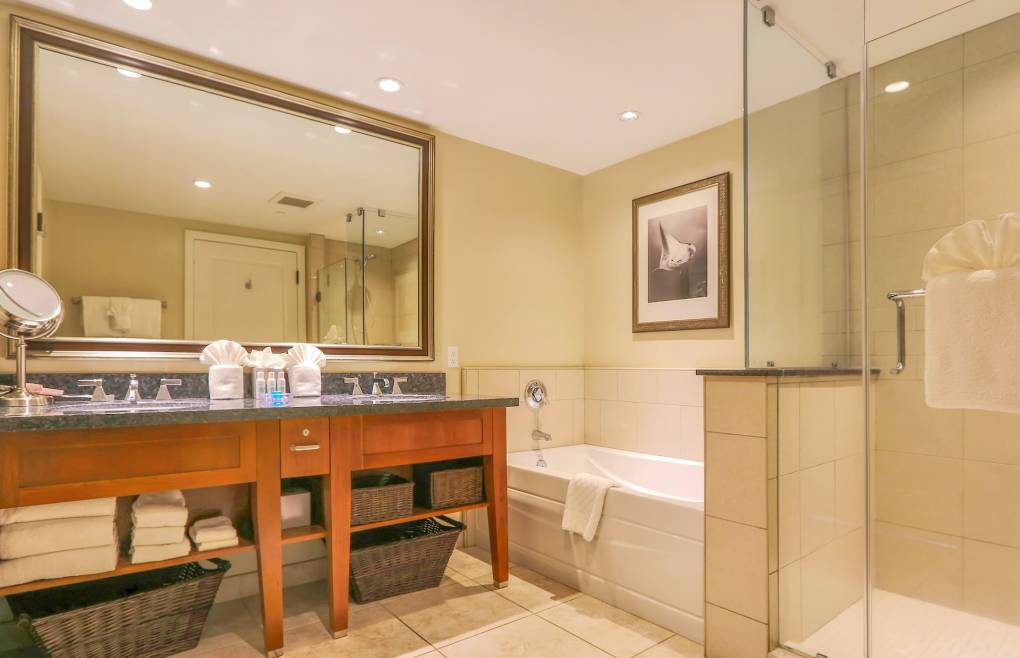 With a glass walk-in shower and a separate soaking tub
