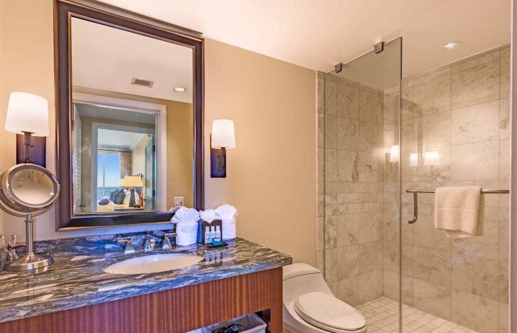 Guest bathroom features a granite vanity and glass walk-in shower