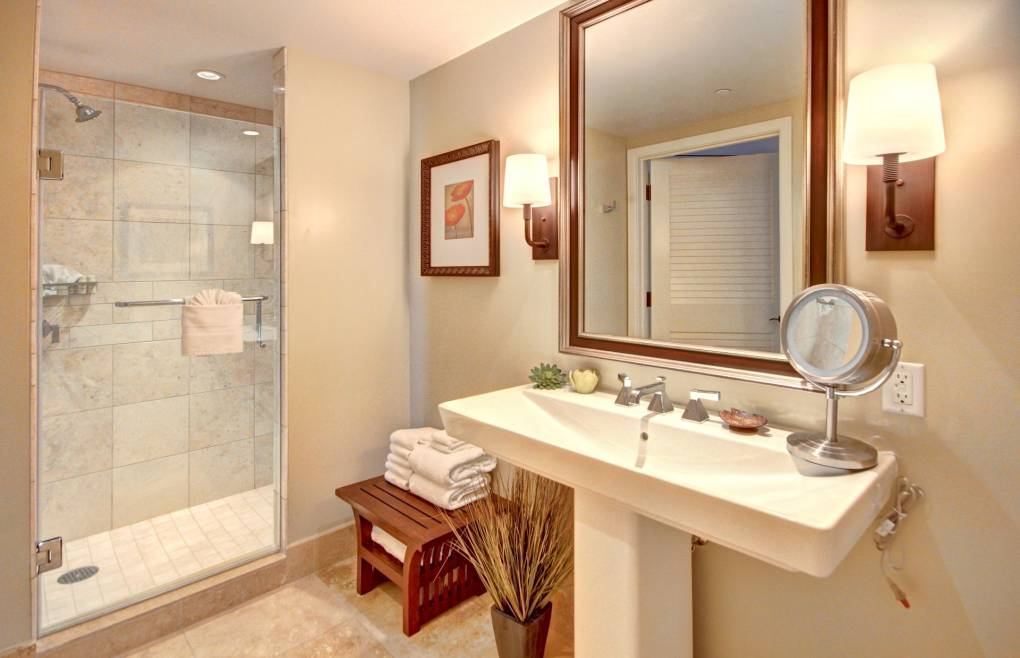 The guest bath offers a walk-in shower
