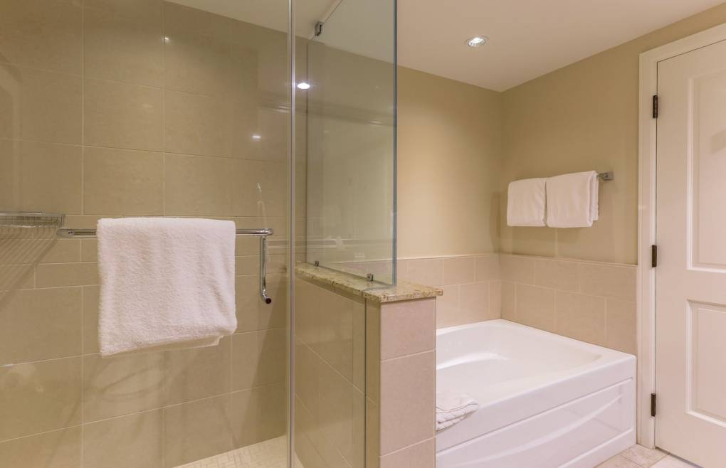 Rinse or soak in the glass walk-in shower or separate soaking tub