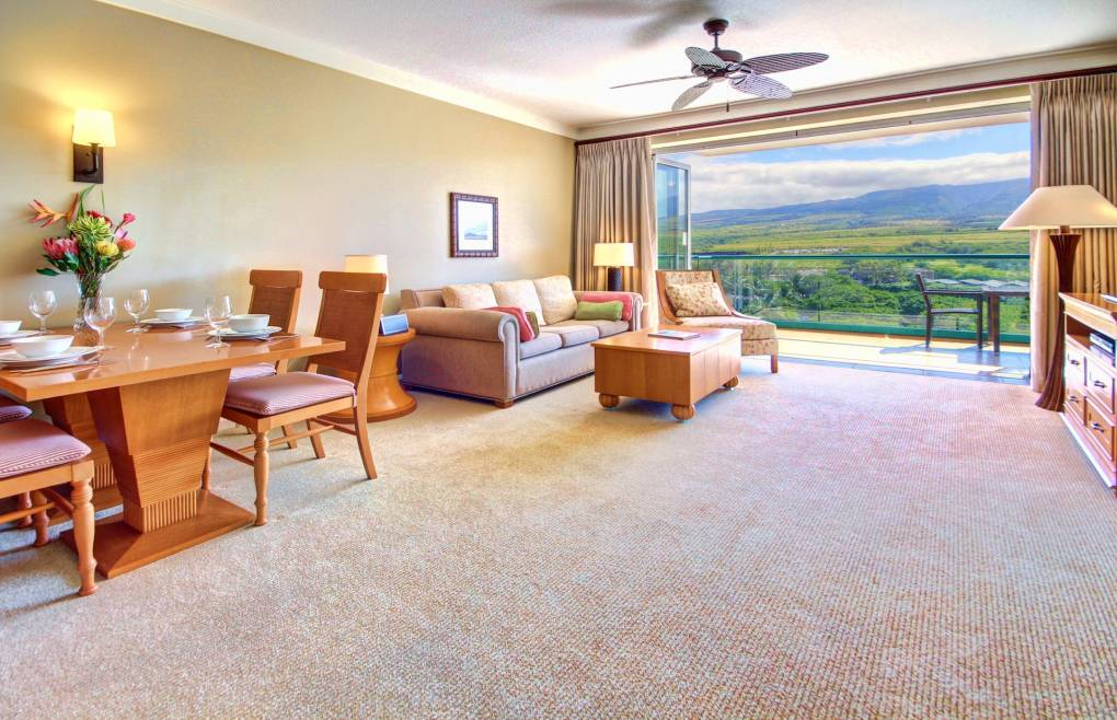 The lush West Maui Mountain views extend into nearly every vantage point