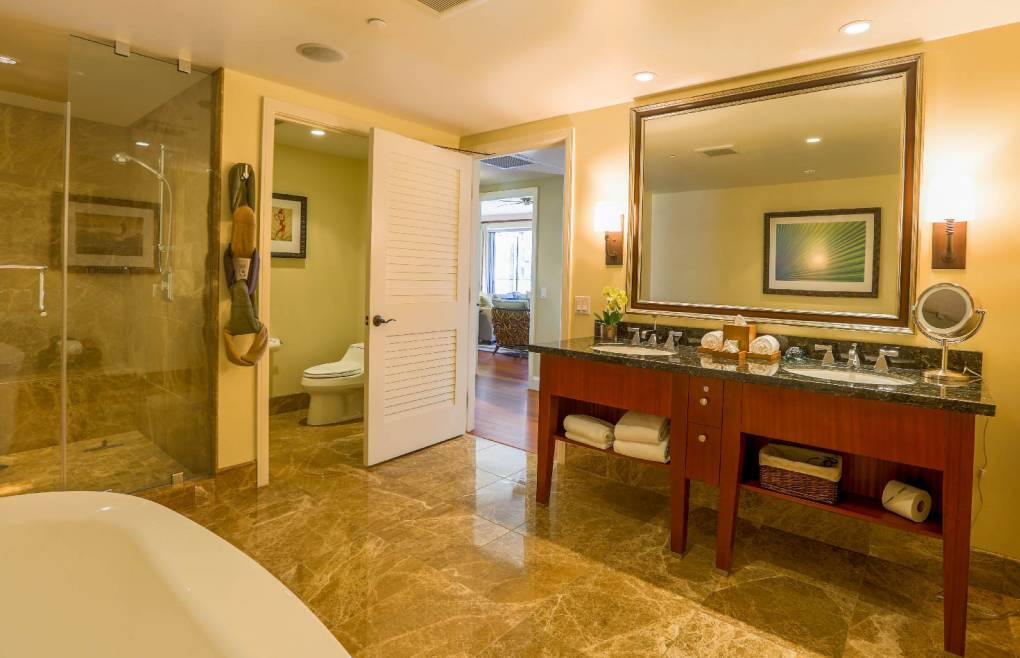 Master Bath offers a glass and marble walk-in shower