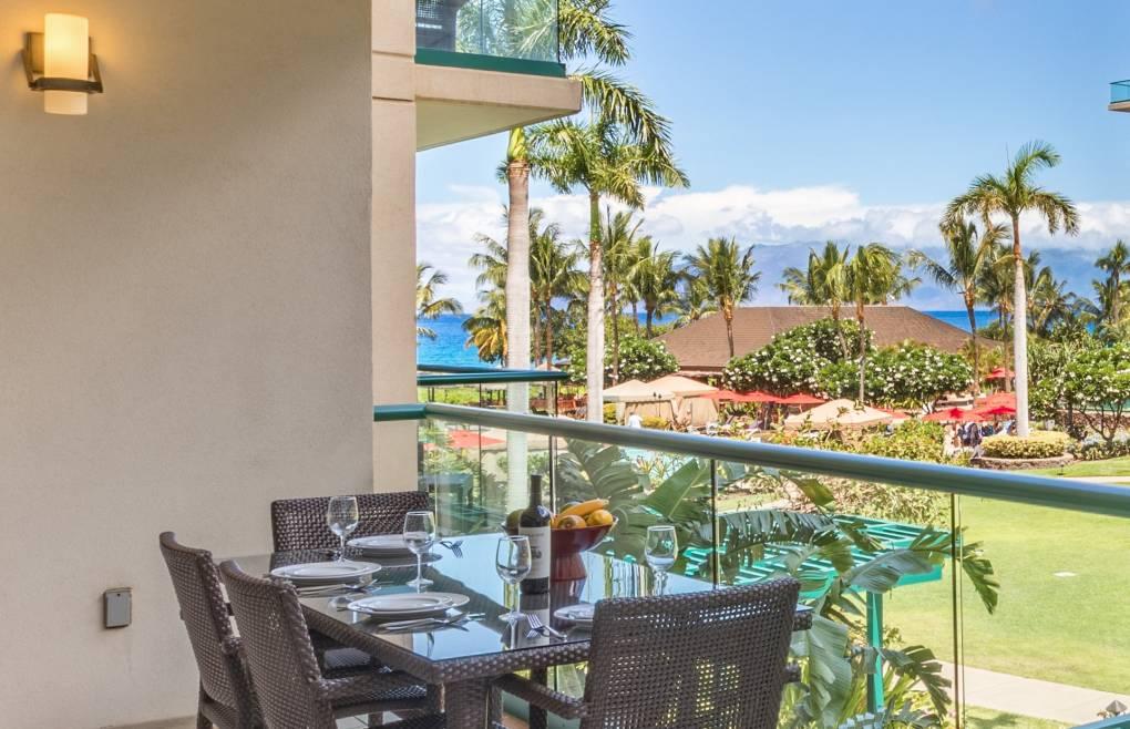 With lush courtyard, partial ocean, and dramatic Molokai views
