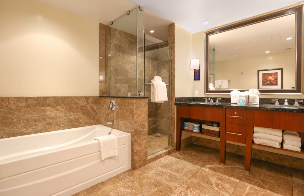 Second master bathroom - double granite vanity, glass and marble shower, soaking tub