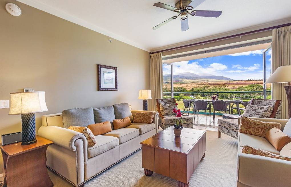 A rare 1 bedroom plus den boasting lush West Maui Mountain views