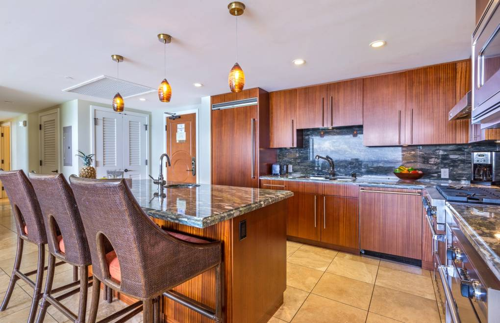 With granite counters, Viking appliances, and even a built-in wine chiller