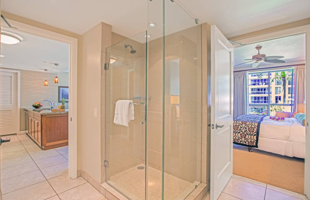And a glass walk-in shower