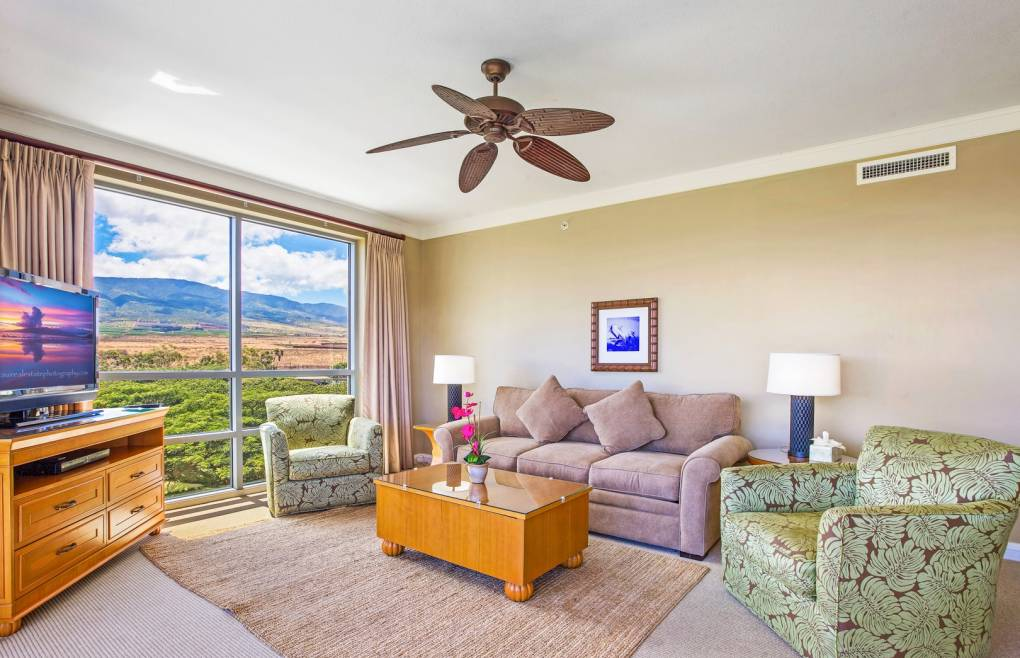 The living room features new furniture and a new queen convertible sofa sleeper