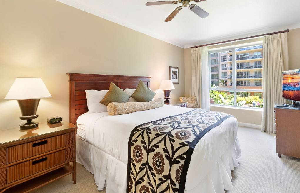 The guest bedroom offers a king size bed