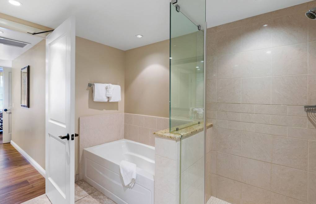 With a frameless walk-in glass shower and a separate soaking tub