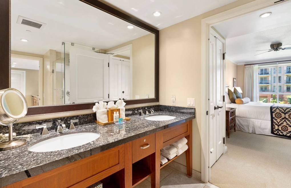 The second bathroom offers a granite vanity
