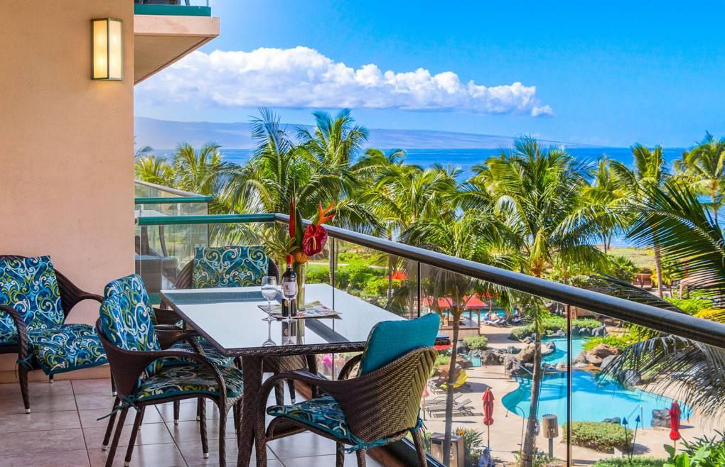 Enjoy the lush courtyard and Pacific Ocean views