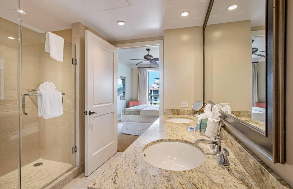 Also offering an oversize frameless glass walk-in shower