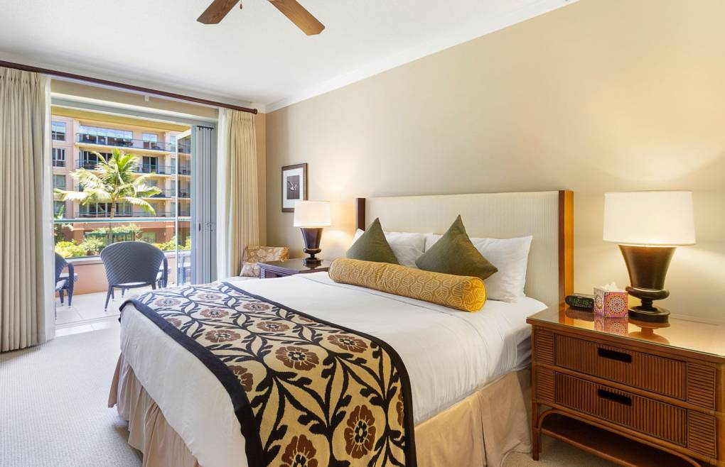 Master bedroom offers a king size bed