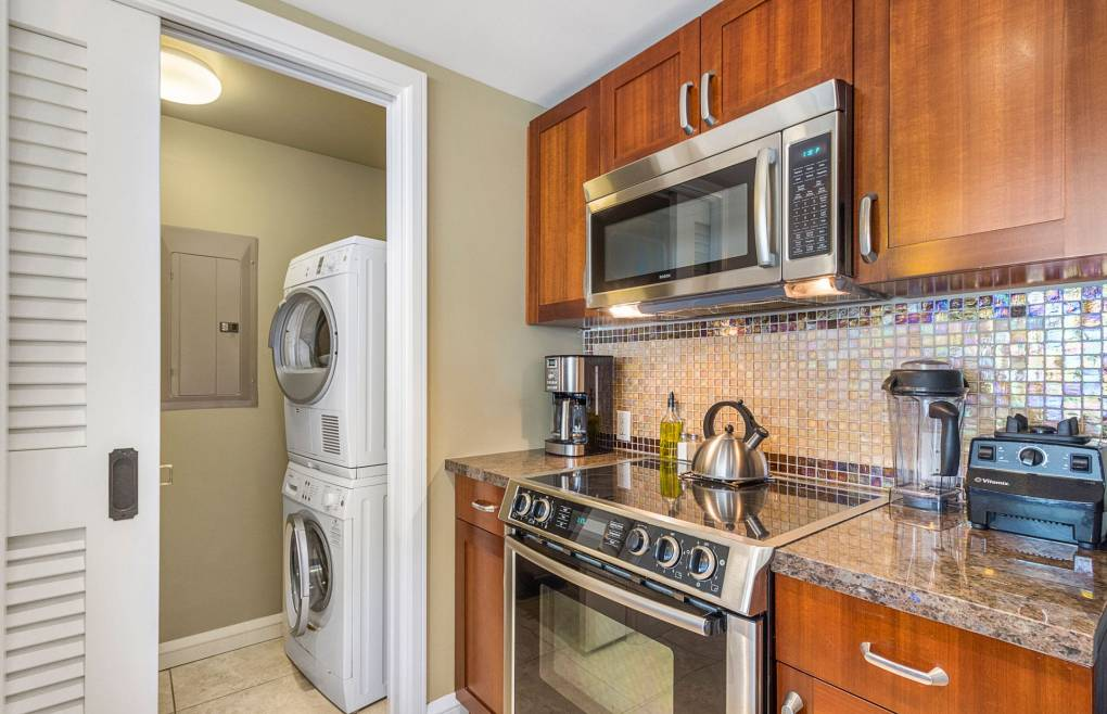 Pack lighter with the in-suite washer/dryer