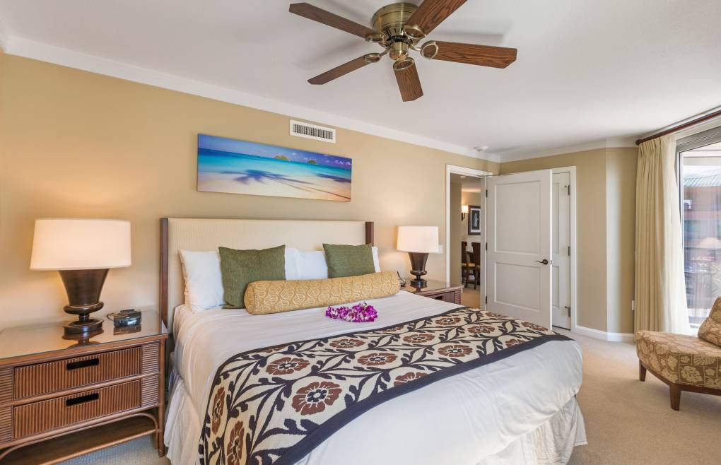 The guest bedroom offers a comfy king size bed