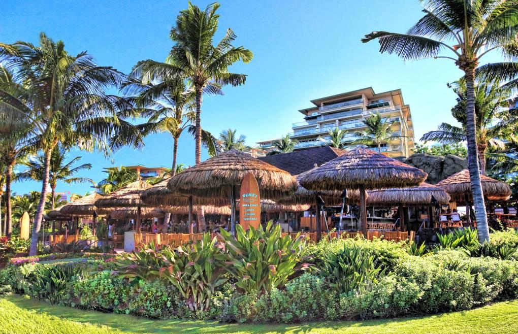 Enjoy a meal at Honua Kai's famous Duke's Beach House Restaurant