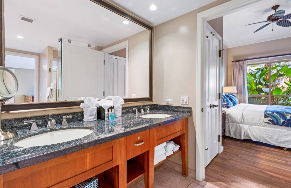 There is a double granite vanity in the guest bath