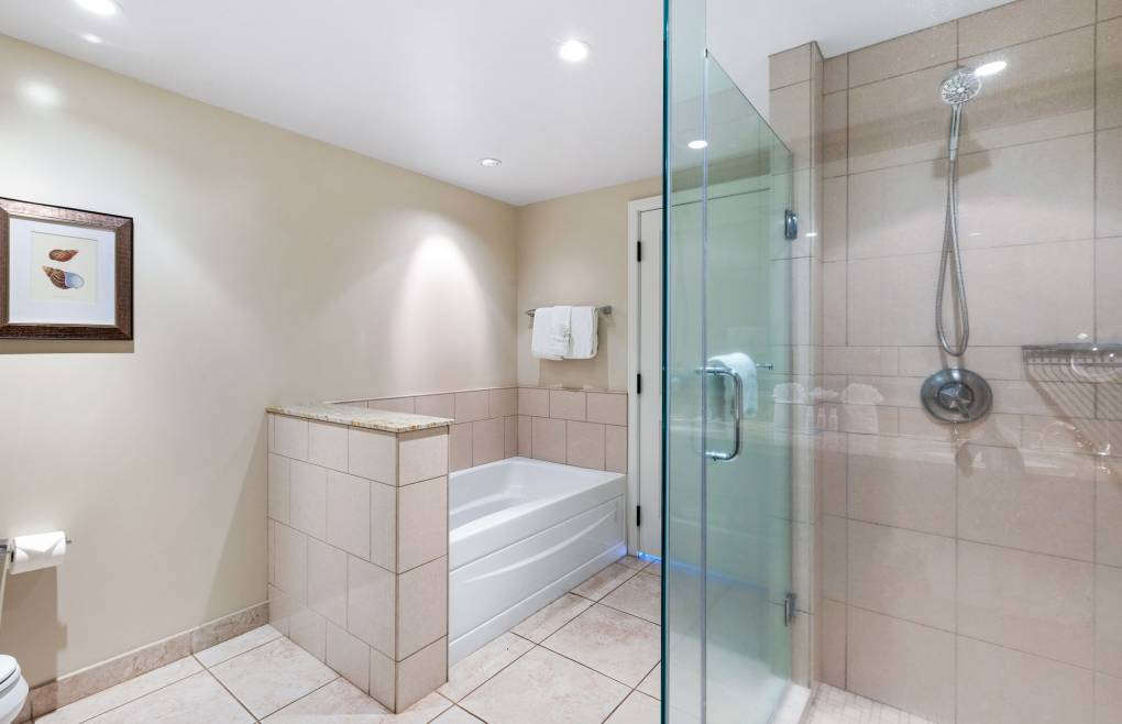 With a glass walk-in shower and separate soaking tub