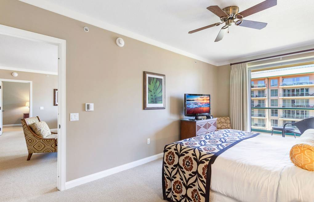 The master bedroom features a sumptuous king-size bed