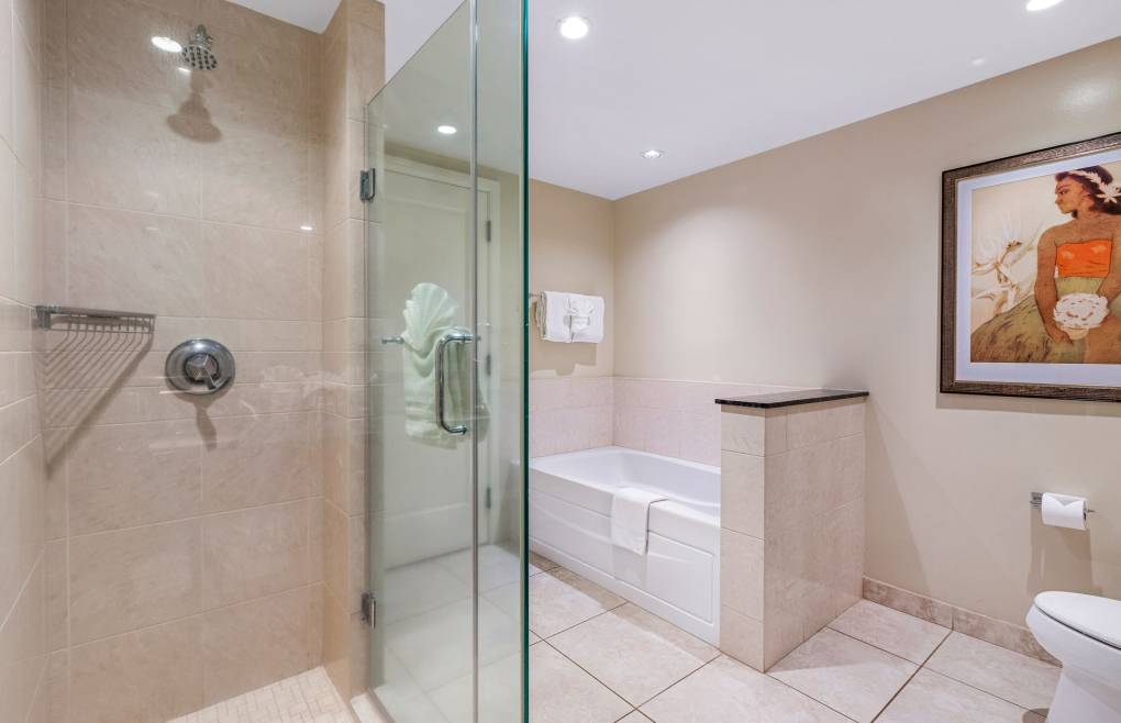 The guest bath also features a glass walk-in shower and soaking tub