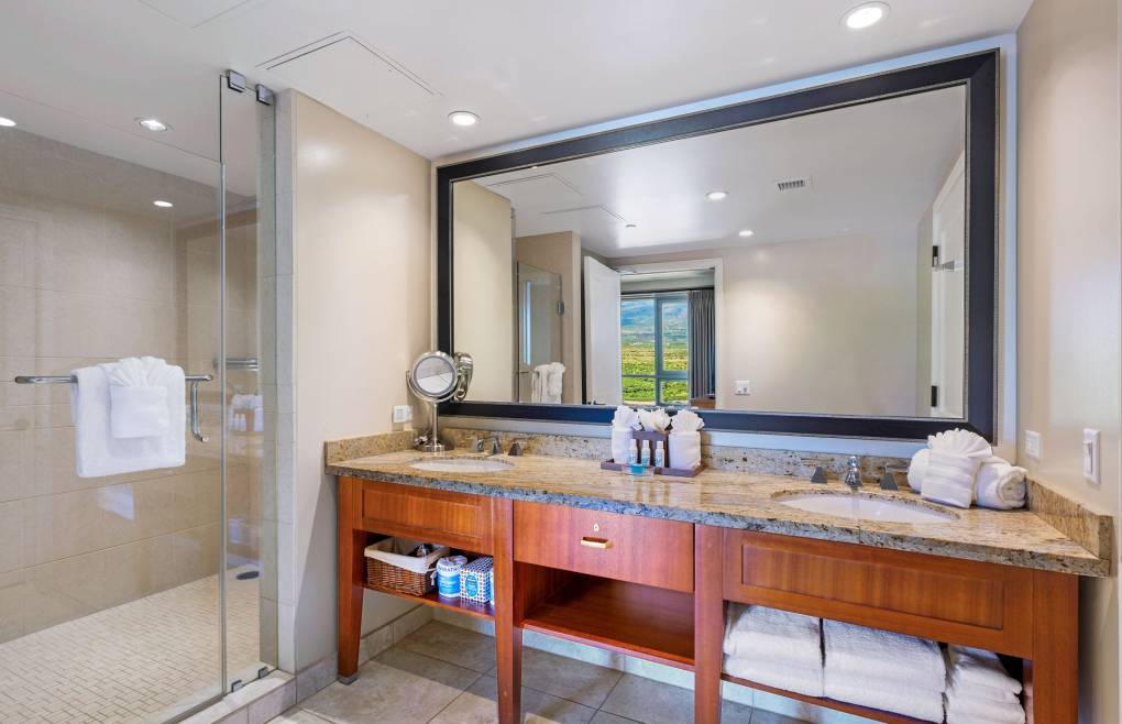 The guest bathroom features a double granite vanity and a frameless glass walk-in shower