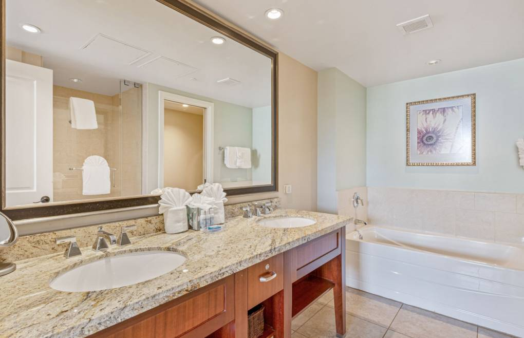 The master bathroom offers a double granite vanity and a soaking tub