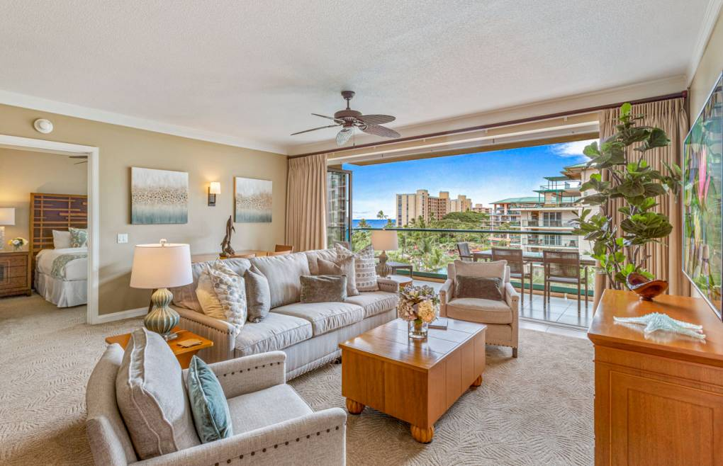 Hokulani 505 is a rare Honua Kai 2 bedroom with ocean views that extend into the interior