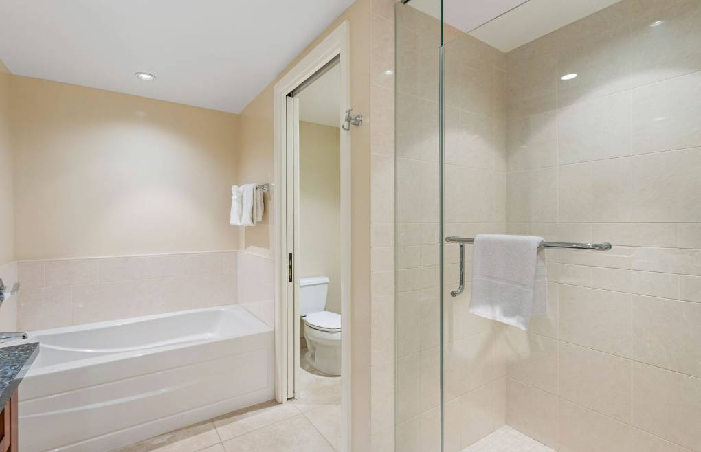 With a frameless glass shower and a separate soaking tub