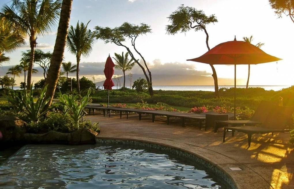 Enjoy a famous West Maui Sunset right from the pool