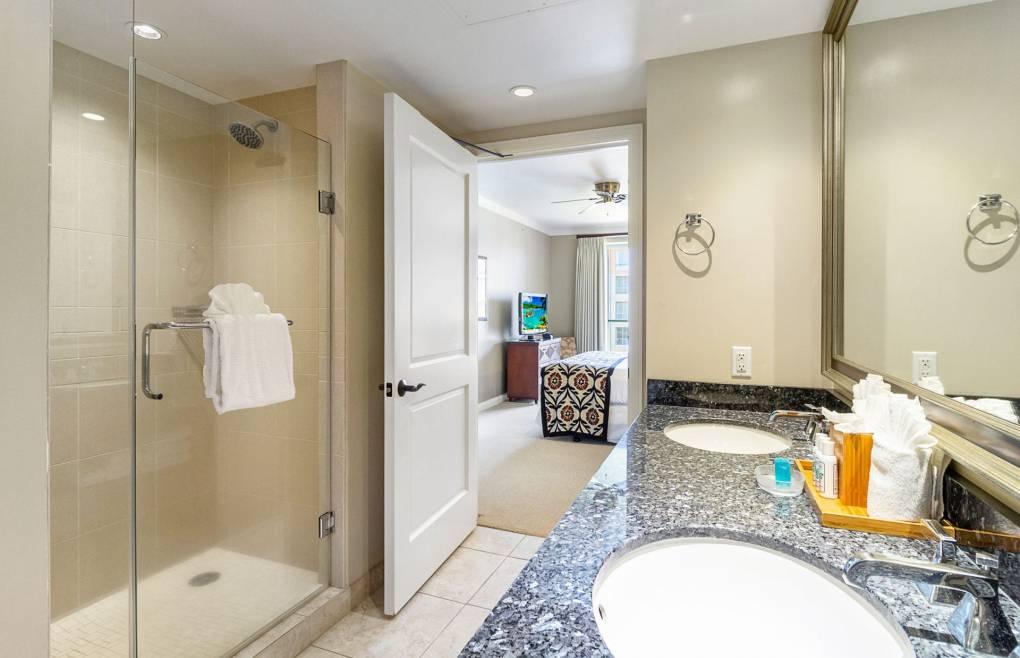 Also offering a frameless glass walk-in shower