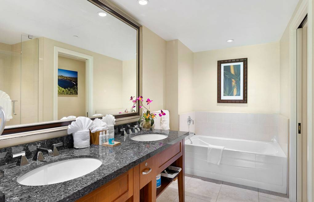 The master bath offers a double granite vanity and a soaking tub