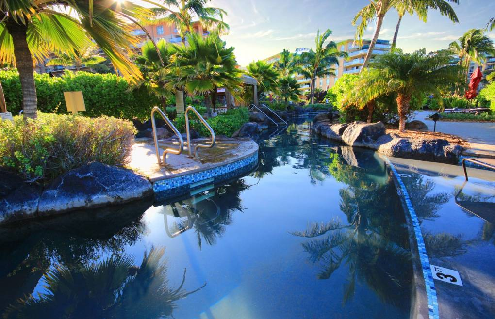 Relax in the lagoon style pool
