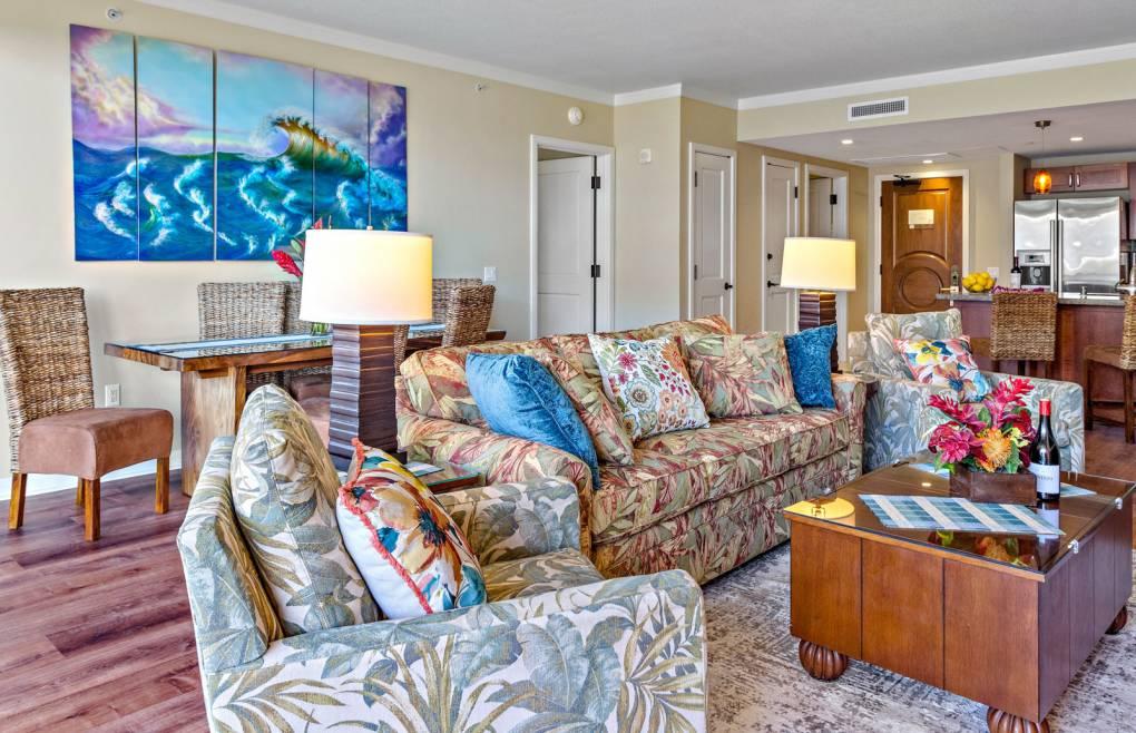 Living room features a queen convertible sofa-sleeper