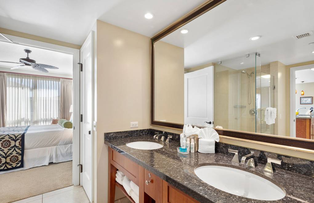 Master bath offers a double granite vanity