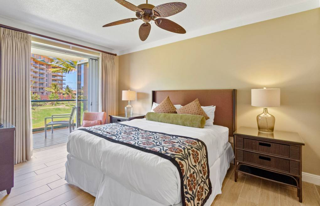 First bedroom features a sumptuous king size bed