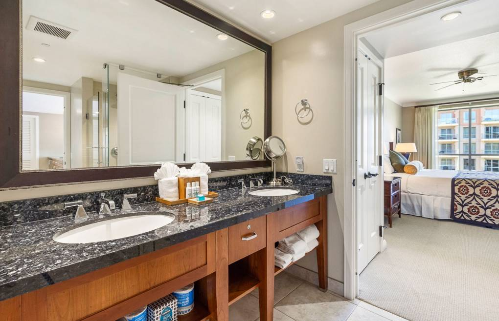 The guest bathroom also features a double granite vanity